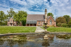 A picture of Haltemprice Crematorium from the pond
