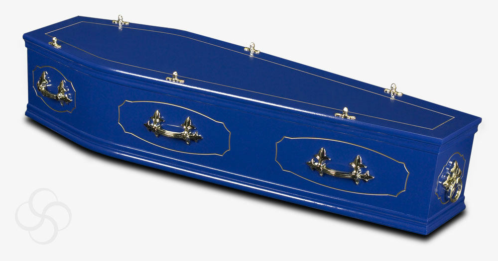 A blue coffin from the studio range