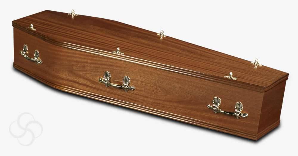 A hardwood Lincoln coffin